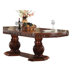 ACME - Acme Quinlan Oval-Shaped Double Pedestal Table in Cherry - This beautiful detailed elaborate carving collection crafted with bentwood veneer. Matching Quinlan Oval-Shaped Double Pedestal Table by Acme Furniture reflects all carefully selected design features as the dining collection.