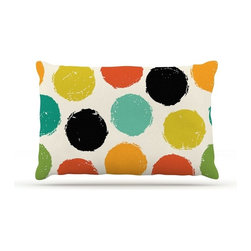 "Kess InHouse - Daisy Beatrice ""Retro Dots"" Circles Fleece Dog Bed (18"" x 28"") - Pets deserve to be as comfortable as their humans! These dog beds not only give your pet the utmost comfort with their fleece cozy top but they match your house and decor! Kess Inhouse gives your pet some style by adding vivaciously artistic work onto their favorite place to lay, their bed! What's the best part? These are totally machine washable, just unzip the cover and throw it in the washing machine!"