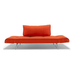 """Innovation USA - """"Innovation"""" Zeal Deluxe Basic Orange Daybed / Chrome Leg... - Futuristic design and very simple versatile construction of this daybed can adorn any modern home or office. This hot orange finishing will make your room shine with bright colors.This product is available in White Leather Textile, Mixed Dance Light Blue, Black Leather Textile, Basic Orange andGravel colors. See more colors in theZeal Deluxe Collection below."""