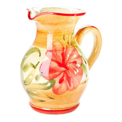 "7"" Provence Ceramic Milk Jug - Handcrafted and handpainted in a small town on the Cote d'Azur, Vallauris, well-known for its pottery artisans. Even the great Picasso went there to learn about pottery (1948-1955)."