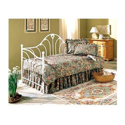 Leggett/Platt Fashion Bed - Emma Daybed in Antique White Finish (w/o Link - Choose Type: w/o Link SpringCurved spindles bring elements of both movement and elegance to this stunning metal daybed, designed to add both extra seating and sleeping space to your home's decor. A stylish way to ensure you always have room for overnight guests, the daybed is finished in antique white and a link spring is optional. Has waterfall arms and curved spindles that splay outwards. The high camelback arch is dramatic. High gloss, cotton ball whiteMade of metal. Antique White finish. 39.5 in. W x 79.75 in. D x 46.5 in. H (66 lbs.)The Emma is like a chameleon because it has so many personalities. It's functional, beautiful and can be used in almost any room of your house. The high camelback arch is dramatic. It has waterfall arms and curved spindles that splay outwards. This is a substantial daybed built to last. The back and sides are welded for added strength and durability. The detailed castings give it a Victorian flair. The floating tube pattern is brought together by the center spindle and has matching swirled finials. The Emma is finished in Antique White - a high gloss, cotton ball white. The hard, protective outer coat makes the bed maintenance free.