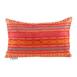 """Brilliant Imports - Shine Pillow, Red Shine, 17.5 X 11"""" - These jewel-toned, shiny fabrics caught my eye while perusing the markets in Denpasar. Originally intended as sarongs, they also make one happy pillow. In Indian inspired red.  Includes insert."""