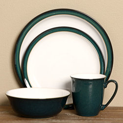 Denby - Denby Greenwich 16-piece Dinnerware Set - This eye-pleasing,everyday dinnerware set from Denby is painstakingly glazed by skilled craftsman and is chip resistant. Made of smooth,durable stoneware,this dinnerware set is the perfect go-to for any breakfast,lunch or dinner.