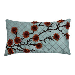 """Rizzy - Rizzy T08051 Pillow, 11""""x21"""", Aqua, Red - T08051"""
