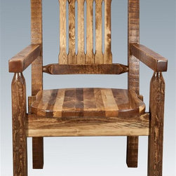 Montana Woodworks - 18 in. Wooden Captains Chair - Contoured style. Hand crafted. Heirloom quality. Solid lodge pole pine legs. Rustic timber frame design. Made from American grown wood. Stained and lacquered finish. Made in USA. No assembly required. Seat height: 18 in.. Overall: 19 in. W x 18 in. D x 38 in. H (25 lbs.). Warranty. Use and Care InstructionsThe captain's chair by Montana woodworks is the perfect addition to your dining set. Placed at the head of the table or used all around, these chairs are sure to please the captain of your table!