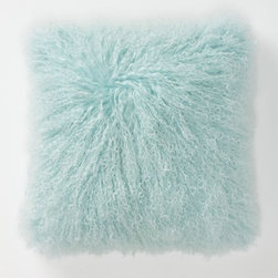 Fluffed & Flaunting Pillow, Blue - Pastel does not have to mean prissy. I love this pale aqua Mongolian sheep pillow cover. To me, it is the perfect dose of fun. Toss a pair on your sofa if your space is starting to look too serious.