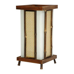 "Oriental Furniture - 14"" Matsu Wood and Bamboo Shoji Lantern - At just over a foot tall, this small table top lamp is great for providing elegant accent lighting, or as a beautiful night light in a hall or bath. The design elements are varied and distinctive, including wood, paper, matchstick caning, as well as whole and split bamboo pole. Approved and uses a USA standard light bulb. The top and bottom collar are beautifully stained and finished to reveal the grain of the wood. The split bamboo pole frames around the woven bleached caning are distressed to reveal the natural beauty of bamboo. Significant craftsmanship goes into each one of these very reasonably priced decorative lamps, part of our wide selection of distinctive Japanese lanterns."