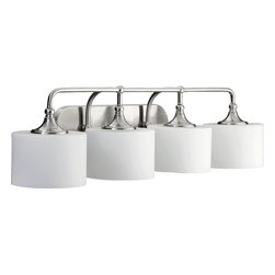 Quorum Lighting - Quorum Lighting Rockwood Transitional Bathroom / Vanity Light X-56-4-0905 - This Quorum Lighting vanity light from the Rockwood Collection will delight in any setting thanks to its unique blend of vintage and traditional nuances. This transitional bathroom light also features a stylish Satin Nickel finish as well as coordinating curvilinear shades made from satin opal glass.