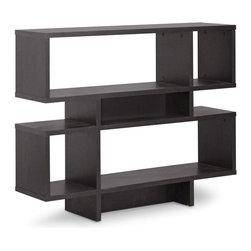 Wholesale Interiors - 4-Level Modern Bookshelf - Dark brown faux wood grain paper veneer