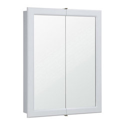 Design House - Concord Bi-View Medicine Cabinet - Two doors and shelves. Plywood side panels. Concealed hinges. Surface mount. Doors open with a fluid motion. Mirror resists chipping or staining in steamy bathrooms and damp moisture. Corrosion resistant finish. CARB compliant. California 93120 compliant. White finish. No assembly required. 24 in. W x 5.25 in. D x 30 in. H. WarrantyThis traditional design gets a modern upgrade with its bright finish and clean lines, sure to quickly revamp your bathroom. This product is perfect for remodeling your bathroom and matches painted cabinets and granite countertops. The cabinet doors glide open revealing shelves to store shampoo, medicine and makeup.