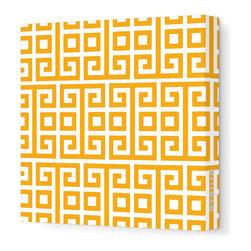 "Avalisa - Pattern - Squares Stretched Wall Art, 28"" x 28"", Orange -"