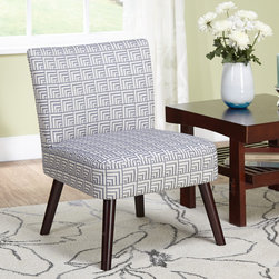 Simple Living - Simple Living Delilah Accent Chair - Give your home an update with this mesmerizing Delilah accent chair. Featuring a stylish upholstery in an off white and denim/greyish blue geometric print fabric,this is the perfect contemporary accent piece for your living room,office or bedroom.
