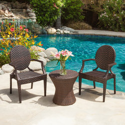 Christopher Knight Home - Christopher Knight Home Adriana PE Wicker 3-peice Outdoor  Set - Never again worry about surprise barbecues or outdoor events with multiple guests. Made of environment-friendly synthetic wicker,the Adriana PE Wicer Outdoor Chat Set of 3 is sturdy and stylish.