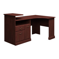 "Bush - Bush Syndicate Expandable Corner Workstation in Harvest Cherry - Bush - Home Office Desks - 6399CS03K - Syndicate fits comfortably in traditionally styled work environments, no matter where they may be. Combining classic design elements, its small footprints are appropriately scaled for serious home offices. Large, small or any size space in between, Bush Syndicate Line Harvest Cherry Expandable Corner Workstation can be enlarged from 62""W to 74""W and has plenty of storage, smart technology integration plus expandability. Offers one box drawer for supplies, one drawer for letter- legal- or A4-size files. All drawers open on fully extendable ball bearing clisdes for easy access to back of drawers. Single raised panel door conceals deep compartment for CPUs or other storage. Handy, built-in charging station keeps cameras, tablets and phones powered up but at your fingertips. Three open cubbies reduce desktop clutter, storing papers, books, and more. Desktop and wire management grommets provide easy access to cords and cables. Solid, sturdy laminate work surfaces look good for years and resist stains, scratches, abrasions and dents. Includes Bush 10-year warranty."