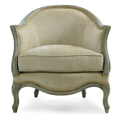 Schnadig - Caracole Le Chaise Chair - A French-inspired chair for the contemporary traditionalist, with beautiful curves that may be appreciated from every angle. The spring down filled seat cushion is 23.5-inches deep. Available in Frost Gray with Accents finish.