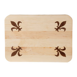"Kentucky Cutting Boards - Four Corner Fleur-de-Lis Classic Board - Just like cheese tastes better when you call it ""fromage,"" your cheeseboards will get an extra pick-me-up from this fabulously French cutting board. Four, inlaid fleurs-de-lis adorn the corners of this solid wood board —perfect for a spread of brie, camembert and chèvre. Display it proudly or use as a chic everyday cutting board."