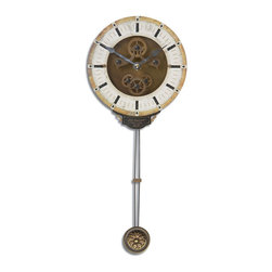 Uttermost - Uttermost 06008 Mini Leonardo Cream Wall Clock - Uttermost 06008 Mini Leonardo Cream Wall Clock