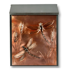 Dragonfly Locking Wall-Mount Copper Mailbox - Perfect for a nature lover, this wall mount mailbox features a copper panel that is hand-embossed with dragonflies and wheat. The steel mailbox has a hidden lock for extra security.