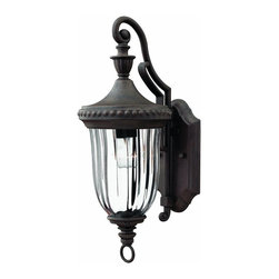 Hinkley Lighting - 1240MN Oxford Outdoor Wall Light, Midnight Bronze, Clear Optic Glass - Traditional Outdoor Wall Light in Midnight Bronze with Clear Optic glass from the Oxford Collection by Hinkley Lighting.