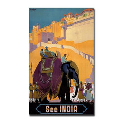 Trademark Global - See India Giclee Framed Canvas Art Poster - Gallery wrapped Giclee on canvas art. Ready to hang. Traditional style. Subject: Vintage. Format: Vertical. Size: Large. Canvas material. 24 in. W x 32 in. H (5.25 lbs.)Giclee is an advanced printmaking process for creating high quality fine art reproductions. The attainable excellence that Giclee printmaking affords makes the reproduction virtually indistinguishable from the original artwork. The result is wide acceptance of Giclees by galleries, museums and private collectors.