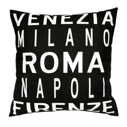 "Uptown Artworks - Roma Italy Pillow - Features: -Material: Natural cotton / linen. -We recommend spot-cleaning or wash in cool water with phosphate-free detergent. -Zipper closure, plush feather and down insert. -Made in the United States. -Eco-friendly. -Overall dimensions: 20"" H x 20"" W, 2 lbs."