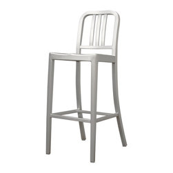Wholesale Interiors - Modern Cafe Bar Stool in Brushed Aluminum - There is no reason to restrict contemporary furniture to the indoors enjoy it al fresco on your deck, patio, or restaurant with the Cafe Stool. Made of lightweight, versatile brushed aluminum, these stools can be easily moved and will stand up to the elements of the outdoors. The simple design lends itself well to just about any type of setting. Plastic non-marking feet finish off the legs and provide additional stabilization. The Cafe Stool is fully assembled and is also available as a dining chair.