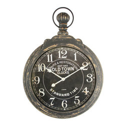 YOSEMITE HOME DECOR - MDF wall Clock with Iron Ring and Glass Lens - This weathered iron framed wall clock with antiqued black glass lens is a charming addition to any home d�cor. Displaying attention to details this wall clock boasts a distressed look that adds a refinement and sophistication to d�cor. This wall clock is versatile and could easily move from the bedroom, to the living room, to the office.