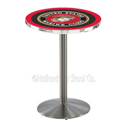 Holland Bar Stool - Holland Bar Stool L214 - Stainless Steel U.S. Marines Pub Table - L214 - Stainless Steel U.S. Marines Pub Table  belongs to Military Collection by Holland Bar Stool Made for the ultimate sports fan, impress your buddies with this knockout from Holland Bar Stool. This L214 U.S. Marines table with round base provides a commercial quality piece to for your Man Cave. You can't find a higher quality logo table on the market. The plating grade steel used to build the frame ensures it will withstand the abuse of the rowdiest of friends for years to come. The structure is 304 Stainless to ensure a rich, sleek, long lasting finish. If you're finishing your bar or game room, do it right with a table from Holland Bar Stool.  Pub Table (1)