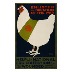 Help the National Egg Collection for the Wounded Print - Enlisted for duration of the war. Help the national egg collection for the wounded, by R.G. Praill ; Avenue Press, London W.C. Created in 1915 as a color lithograph at 75 x 48 cm. Summary: Poster showing a chicken wearing a red leg band and a sash decorated with a crown.