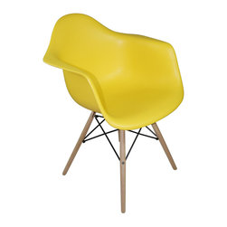 Mod Made Furniture - Mod Made Paris Tower Collection Arm Chair with Wood Leg in Yellow (Set of 2) - The Paris Tower Arm Chair is a piece of contemporary art as well as furniture. The lucid and simplistic look of the chair complements the intricate design style of the wood base to create this masterpiece. Sturdy wood legs makes sure this chair will last from generation to generation.