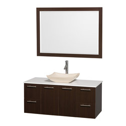 Wyndham - Amare 48in. Wall Vanity Set in Espresso w/ White Stone Top & Ivory Marble Sink - Modern clean lines and a truly elegant design aesthetic meet affordability in the Wyndham Collection Amare Vanity. Available with green glass or pure white man-made stone counters, and featuring soft close door hinges and drawer glides, you'll never hear a noisy door again! Meticulously finished with brushed Chrome hardware, the attention to detail on this elegant contemporary vanity is unrivalled.