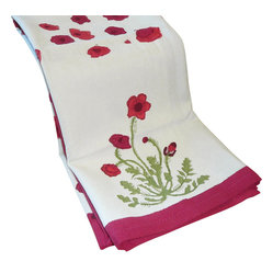 "Poppies Tea Towels, Red/Green, 20""x30"""