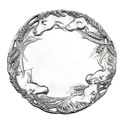 "Arthur Court - Horse 12"" Round Tray - Proud equine profiles and full stalks of wheat form the motif for this shining cast aluminum tray. Use it to serve your guests in style or simply put it on display."