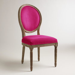 Fuchsia Paige Round-Back Dining Chairs, Set of 2 - This Louis-inspired chair comes in a set of two at World Market. Don't need two? Go in on a pair with a friend so that you can both have a little Radiant Orchid in your houses.