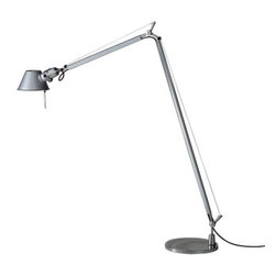 Artemide - Tolomeo Reading Floor Lamp with 9 In. Base by Artemide - The Artemide Tolomeo Reading Floor Lamp with 9 Inch Base was designed by Michele De Lucchi and Giancarlo Fassina to provide the superb light and directionality of the original Tolomeo table lamp--but on a larger scale. This floor lamp is made entirely out of aluminum and steel, the shade and arms infinitely and smoothly adjustable.Since 1959, Artemide has created a wide array of modern table lamps, floor lamps, wall sconces and suspensions. Technologically advanced, and with styles ranging from clean and refined to sculptural and avant garde, many Artemide designs--especially the Tolomeo and Tizio--have become icons of contemporary lighting design.The Artemide Tolomeo Reading Floor Lamp with 9 Inch Base is available with the following:Details:Flared anodized matte aluminum shadeShade rotates 360 degreesHighly-polished anodized aluminum articulated arm structurePolished die-cast aluminum jointsPolished die-cast aluminum tension control knobsStainless steel tension cablesStainless steel internal tension springsWeighted steel base with stamped aluminum coverOn/off switch on lampholderUL ListedMade in ItalyDesigned by Michele De Lucchi and Giancarlo Fassina, 1990Lighting:One 100 Watt 120 Volt A19 Medium Base lamp (not included).Shipping:This item usually ships within 2 to 3 weeks.