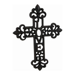 Zeckos - Cast Iron Love Decorative Wall Mounted Cross - The message of 'Love' is incorporated into this wonderful wall mounted cross to accent any room or door in your home. This blackened finish cast iron 9.5 inch high, 7.5 inch wide (24 x 19 cm) cross features an intricate scrolling design, and includes an attached hanger on the back making mounting to any surface easy. It's suitable for indoor or outdoor use, and makes a beautiful housewarming gift sure to be appreciated