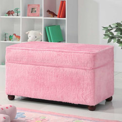 Coaster - Pink Transitional Bench - Storage bench wrapped in an ultra soft pink fabric. Matching club chair and ottoman also available.
