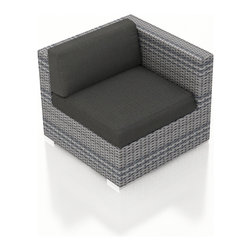 Harmonia Living - Urbana Outdoor Modern Right Arm Chair, Weathered Stone Wicker,  Charcoal Cushion - The Urbana Outdoor Wicker Right Arm Facing Chair with Gray Sunbrella Cushions (SKU HL-URBN-RAS-CC) is the perfect starting or end point for building your own stylish Urbana Sectional. Made with High-Density Polyethylene (HDPE) wicker, a fade-resistant color is designed to withstand the elements. The section is constructed with a sturdy, thick-gauged aluminum frame, protected with a powder coating for even greater corrosion resistance. The seats are also reinforced to provide support and prevent excessive wicker stretching from repeated use. Both seat and back cushions are included, with your choice among four fade- and mildew- resistant Sunbrella fabric options.