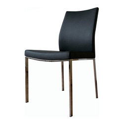 "sohoConcept - Pasha Chrome Chair - Set of 2 (Black Leather) - Fabric: Black LeatherSet of 2. An ergonomic dining chair with a comfortable upholstered seat. Backrest on chromed steel legs which are plastic tipped. Seat has a steel structure with ""S"" shape springs for extra flexibility and strength. Steel frame molded by injecting polyurethane foam. Seat is upholstered with a removable velcro enclosed leather, PPM or wool fabric slip cover. Suitable for both residential and commercial use. Pictured in Black Leatherette. 19 in. W x 20 in. D x 34 in. H, Seat Height: 17.5 in."