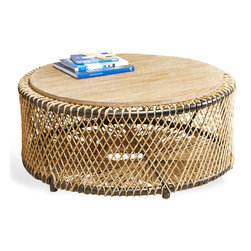 Kathy Kuo Home - Saranda Beach Style Wood Rope Round Coffee Table - Listen closely and hear the waves crashing on the shore. This natural, weathered rope detailing and distressed wood evoke casual, coastal ease. The airy, open design feels simple and elegant as a coffee or side table.