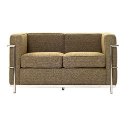 Charles Petite Wool Loveseat - Urban life has always a quandary for designers. While the torrent of external stimuli surrounds, the designer is vested with the task of introducing calm to the scene. From out of the surging wave of progress, the most talented can fashion a force field of tranquility.