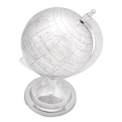 Benzara - Globe in Silver Finish with Intricate Detail Work - Whether you are looking for the perfect accessory to embrace your lavish conference room or a perfect showpiece for your study. This aluminum decor globe is a perfect addition to your elegant space. Offering a dazzling look made out of the finest quality aluminum metal, every intricate detail has been carefully administered so as to offer nothing but perfection that compliments your elite choice. Its sturdy construction offers it robustness and durability. Easily movable with least maintenance required, this aluminum decor globe emits class and exclusivity. Add it to your elegant decor today!.