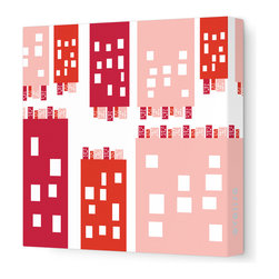 """Avalisa - Imagination - City Stretched Wall Art, 12"""" x 12"""", Red - Stretched, unframed art makes a sleek and modern design statement on your wall. And doesn't this piece put a unique, humorous spin on metropolitan life?"""