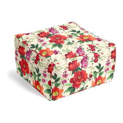 Bright Red Painterly Floral Custom Pouf - The Square Pouf is the hottest thing in décor since the sectional sofa. This bean bag meets Moroccan style ottoman does triple duty as a comfy extra seat, fashion-forward footstool, or part-time occasional table.  We love it in this vibrant floral in warm red, berry & emerald on smooth sateen. Modern in color, traditional in style: an energetic bouquet for any room.