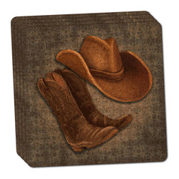 """Made on Terra - Cowboy Hat and Boots Country Thin Cork Coaster Set of 4 - You're just cleaning up after your epic party when you realize it... something's different. Unlike all those other times, you're not mopping up cup condensation from your counters and tables. This time, everyone used a coaster. Everyone. Maybe it's because you handed out a coaster with every glass. No. You've tried that before. No, this time it's because of the actual coasters. You found the cutest Made On Terra printed cork coasters. You love that everyone commented on how unique they were,  from the light-weight, thin cork material to the printing that creates a cool and subtle effect. Plus, they're really absorbent, but dry quickly. And they're made from an eco-friendly, sustainable resource, so that makes you feel pretty great, too. Choose from Made on Terra's many fabulous cork coasters. Measures 4"""" x 4"""" x 1/8"""". Made of thin cork. Super cute and nicely absorbent. Sold in sets of four."""