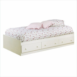 South Shore - South Shore Summer Breeze Twin Mates Storage Bed Frame Only in White Wash Finish - South Shore - Beds - 3210080 - For a stylish updated version of cottage country the Summer Breeze collection is an ideal choice when decorating a child's or teen's room. The Summer Breeze Mates Bed Box is simple in design featuring three generous-sized drawers for convenient under-bed storage.
