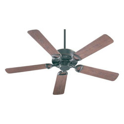 Quorum International - Estate Old World Energy Star 52-Inch Patio Fan - -Amps: .57/.39/.21  -Fan Watts: 68/29/8  -RPM: 168/112/65  -Motor Size: 153x15  -Motor Poles: 14  -Motor Warranty: Limited Lifetime  -Motor Lead Wire: 80  -Motor Switch Type: Hi/Med/Low/Off  -Motor Reverse Type: Slide  -Five Walnut Blades  -Blade Sweep: 52  -Arm Pitch: 14  -Down Rods Included: 3.5 and 6  -Ceiling to Lower Edge of Blade: 10.51  -Fan Housing Width: 11.02  -Optional remote control available.  See companioned items to order. Quorum International - 143525-95