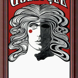 "Amanti Art - Godspell Framed Print - This haunting, Jim Morrison-esque artwork served as the poster print for the ""Godspell"" play. It makes a striking accent to any wall in your room, and will excite theater buffs."