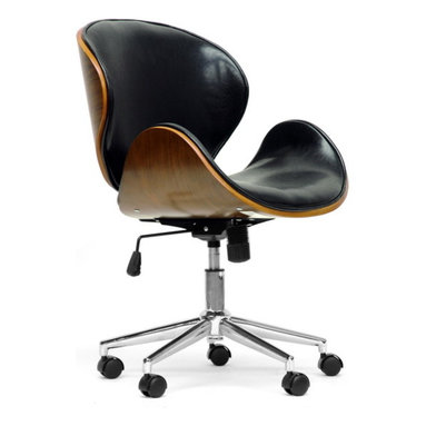 Baxton Studio - Baxton Studio Bruce Walnut and Black Modern Office Chair - A stylish, affordable alternative to your run-of-the-mill plastic and fabric office chair, the Bruce Modern Task Chair has won us over. A walnut effect plywood frame houses a lightly-padded black faux leather seat and sits atop a base made of chrome-plated steel and black plastic casters. Covetable height-adjustment and 360 degree swivel features are included. Made in China, the Bruce Designer Office Chair requires assembly and should be wiped clean with a damp cloth