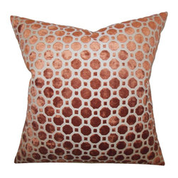 None - Kostya Copper Geometric 18-inch Feather and Down Filled Pillow - For a sleek urban look,adorn your home with this charming throw pillow. Made from high-quality velvet material,this accent pillow features a a modern geometric pattern and a down/feather blend inside.